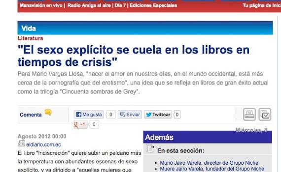 ECUADOR   'El sexo explícito se cuela en los libros en tiempos de crisis'