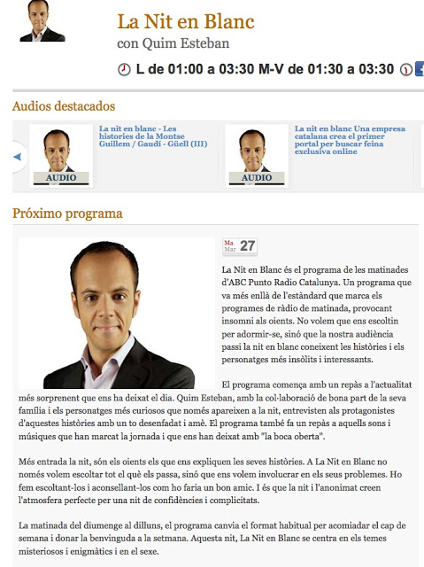 Entrevista a 'La nit en blanc' d'ABC Punto Radio Catalunya