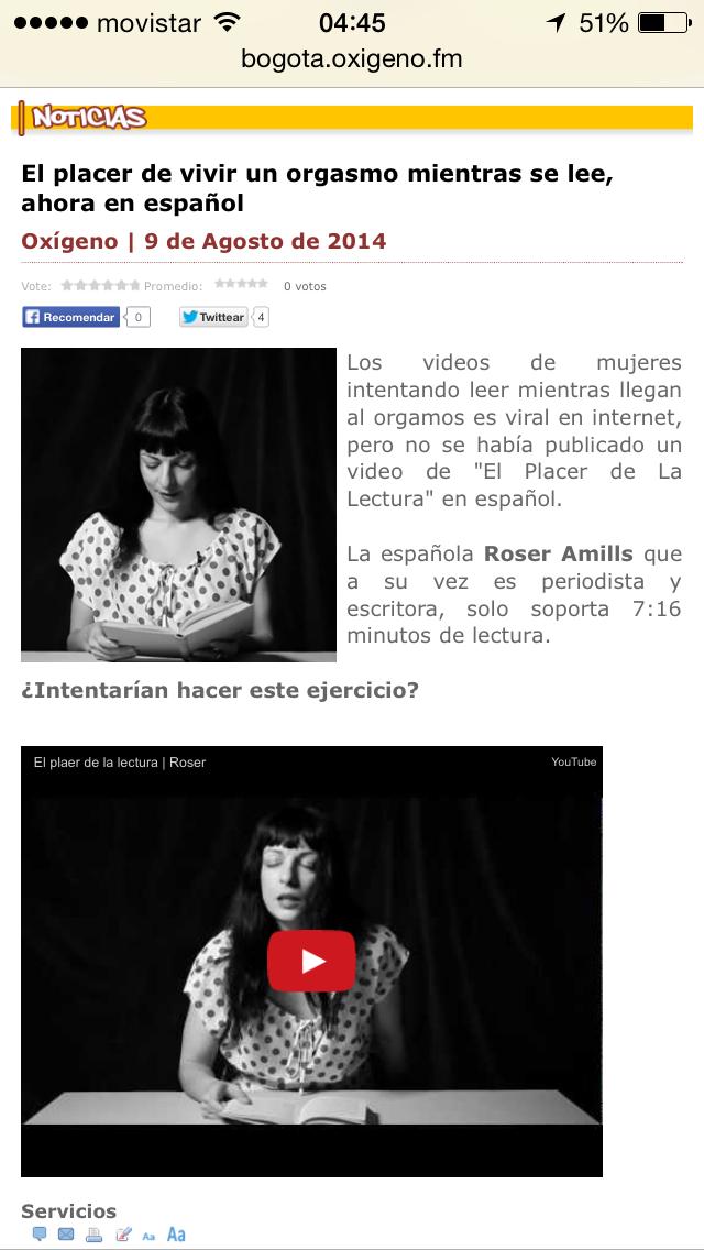NOTICIAS | El placer de vivir un orgasmo mientras se lee, ahora en español