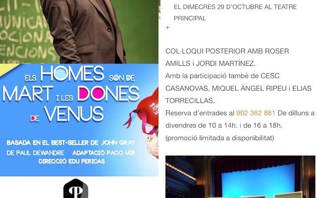 COL·LOQUI amb Roser Amills i Jordi Martínez, Cesc Casanovas, Miquel Àngel Ripeu i Elias Torrecillas. Reserva entrada al 902 362 881