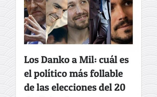 Tenemos debate el #LosDankoA1000 Entra en @scannerfm y vota #politicosfollables :))