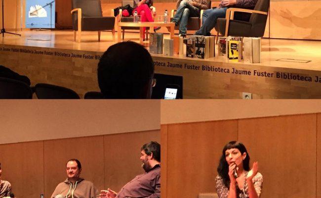 Ayer en la Biblioteca Jaume Fuster hablamos de novela, amor y erotismo. @graciallegeix con Francesc Miralles, Sebastià Bennnassar y servidora :)) #graciallegeix