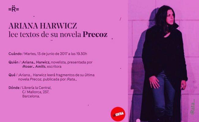 Hoy tenemos una cita: presento a la gran Ariana Harwicz en La Central a las 19h #lecturaharwicz