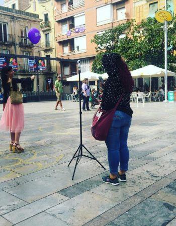 Producción de fotos en la plaça de Sol