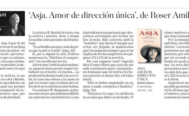 Llegim Ara Balears | Ressenya de Ramona Pérez: 'Asja. Amor de dirección única', de Roser Amills
