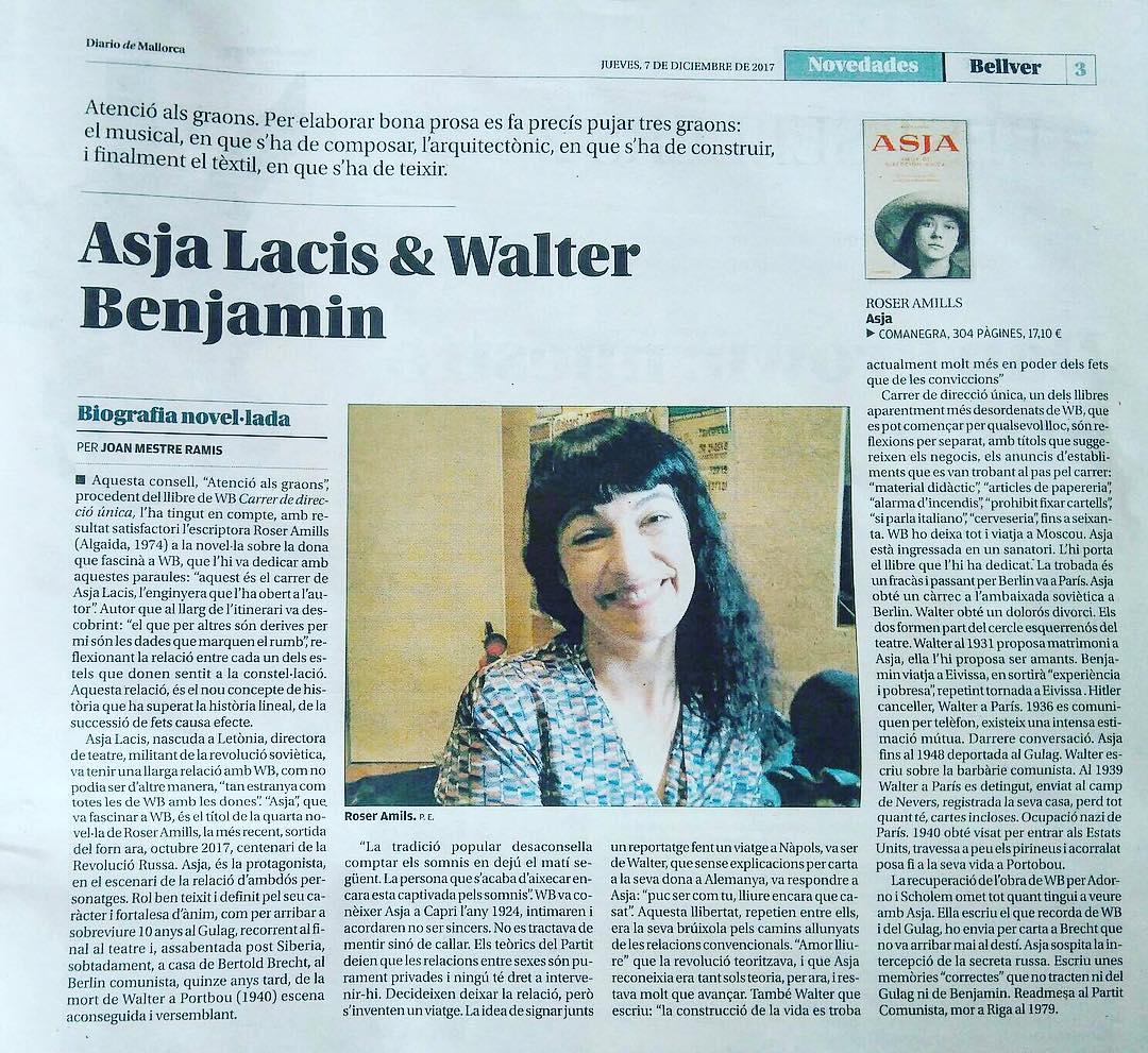 Gracias #Bellver de @diariodemallorca por esta reseña de #asjalacis & #walterbenjamin