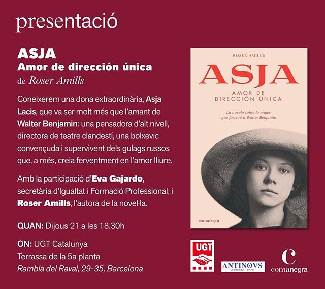 El proper dijous 21 de juny, a les 18.30 a la 5a planta de la UGT Raval, vine i parlarem de la protagonista de la meva última novel·la #Asja, una altra dona silenciada per la història a qui he donat veu. @Comanegra @icdones @Avalot_