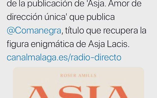 📻📚A las 10.30 h., en #pecataminuta @Malagaaldia1, me entrevistan con motivo de la publicación de 'Asja. Amor de dirección única' que publica @Comanegra, título que recupera la figura enigmática de Asja Lacis. canalmalaga.es/radio-directo