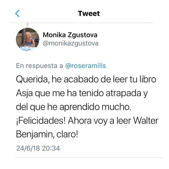 Admiro tanto a @monikazgustova que este comentario suyo sobre mi novela de #asjalacis y #walterbenjamin es un premio valiosísimo. Así lo comparto, agradecida y emocionada. Leed su nueva novela #laintrusa sobre Gala Dalí y me entenderéis 💕
