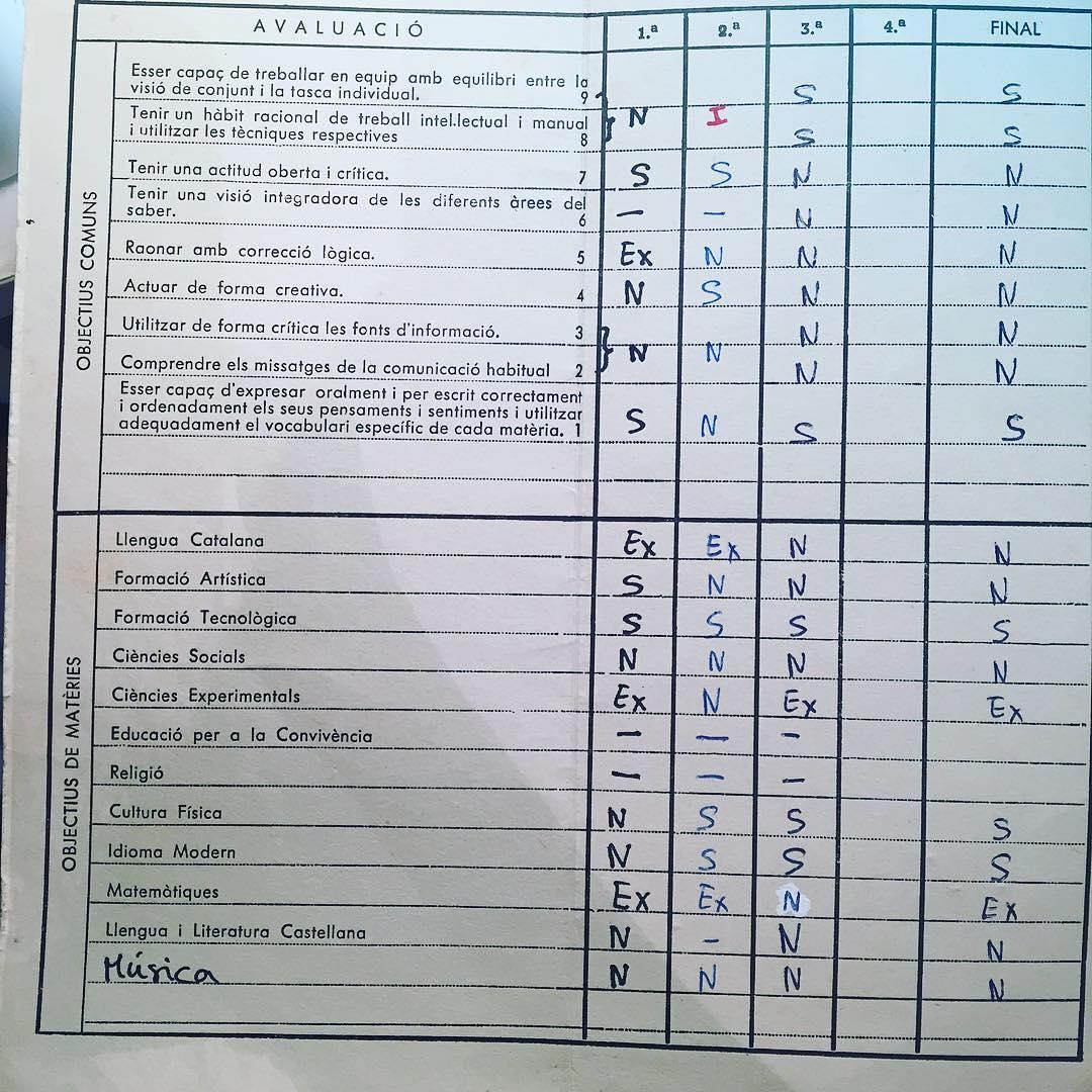 Acabo de encontrar mis notas de 1° del instituto :)) #bondia #buenosdias 💕