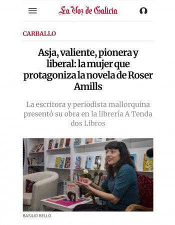 La Voz de Galicia | Asja, valiente, pionera y liberal: la mujer que protagoniza la novela de Roser Amills